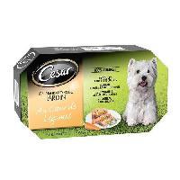 Boite - Patee - Nourriture Humide - Molle CESAR Barquettes en terrine coeur de legumes - 4 varietes - Pour chien adulte - 4 x 150 g
