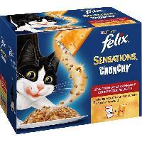 Boite - Patee - Nourriture Humide - Molle FELIX Sensations Crunchy Crumbles Viandes - Pour chat adulte - 10 x 100 g + 1 x 40 g