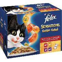 Boite - Patee - Nourriture Humide - Molle FELIX Sensations en gelée - Viandes boeuf. poulet. canard et agneau - Pour chat adulte - 12 x 100 g