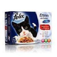 Boite - Patee - Nourriture Humide - Molle FELIX Tendres effilés en gelée - Viandes - Pour chat adulte - 12 x 100 g