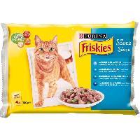 Boite - Patee - Nourriture Humide - Molle FRISKIES Sachets fraîcheur - Aux poissons et légumes en sauce - Pour chat adulte - 4 x 100 g