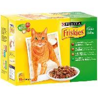 Boite - Patee - Nourriture Humide - Molle FRISKIES Sachets fraîcheur - Aux viandes et poissons en gelée - Pour chat adulte - 12 x 100 g