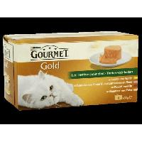 Boite - Patee - Nourriture Humide - Molle GOLD Terrine - Pour chat - 4x85g