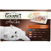 Boite - Patee - Nourriture Humide - Molle GOURMET A La Carte Recettes du Chef au poisson de l'Océan. a la dinde. au saumon. au canard - Pour chat adulte - 4 x 85 g