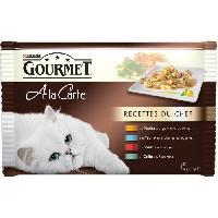 Boite - Patee - Nourriture Humide - Molle GOURMET A La Carte Recettes du Chef au poulet. a la truite. au boeuf. au colin - Sachets fraîcheur - Pour chat adulte - 4 x 85 g