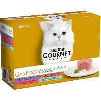 Boite - Patee - Nourriture Humide - Molle GOURMET Gold Les Mousselines avec des légumes - Pour chat adulte - 12 x 85 g