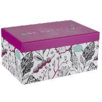 Boite A Bijoux Boite a bijoux rectangle - Carton - 18.5 x 12 cm - Rose - Generique