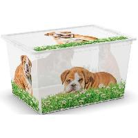 Boite De Rangement - Bac De Rangement ABM Boîte de rangement C box Style - 50 L - Décor animaux - Beige. vert et transparent