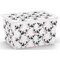 Boite De Rangement - Bac De Rangement ABM Boîte de rangement C box Style - 50 L - Décor animaux - Noir. rose et gris