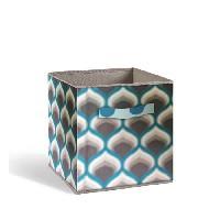 Boite De Rangement - Bac De Rangement COMPO Tiroir de rangement - Tissu - 27 x 27 x 28 cm - Motif 70's - Bleu et gris