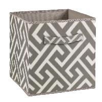 Boite De Rangement - Bac De Rangement COMPO Tiroir de rangement - Tissu - 27 x 27 x 28 cm - Motif Labyrinthe - Gris et blanc