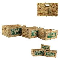 Boite De Rangement - Bac De Rangement TOTALLY ADDICT Lot de 3 Bacs en jacinthe avec plaque bois M4 Aucune
