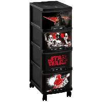Boite De Rangement - Bac De Rangement Tour de rangement a roulette Star Wars 10 L - 4 tiroirs A4 - Noir
