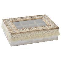 Boites De Conservation - Boites Hermetiques Boîte a infusion en bois et verre - 24x17x7 cm - Blanc - Generique