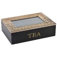 Boites De Conservation - Boites Hermetiques Boîte a infusion en bois et verre - 24x17x7 cm - Noir - Generique