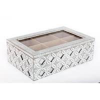 Boites De Conservation - Boites Hermetiques Boîte a thé géo avec strass - 24 x 15 cm - Gris - Aucune