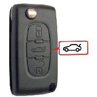 Boitier - Coque De Cle - Telecommande Coque de cle compatible Peugeot-Citroen 3 boutons - pile sur coque