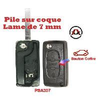 Boitier - Coque De Cle - Telecommande PSA307 - Coque de cle electronique et lame 7mm Citroen-Peugeot - 3 Boutons - Bouton coffre - Pile sur Coque - ADNAuto