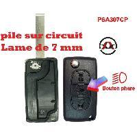 Boitier - Coque De Cle - Telecommande PSA307CP - Coque de cle electronique et lame 7mm Citroen-Peugeot - 3 Boutons - Bouton phare - Pile sur circuit