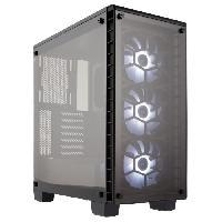 Boitier Pc - Panneaux Lateraux CORSAIR Boitier Moyen Tour Crystal 460X RGB - Blanc - Fenetre Verre Trempé (CC-9011129-WW)
