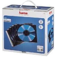 """Boitier Rangement Cd - Boitier Rangement Dvd - Boitier Rangement Blu-ray HAMA 00051270 Boîtier CD """"Slim"""" - Boîte de 100 -Transparent et noir"""