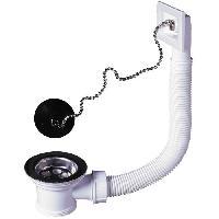 Bonde - Cabochon  Bonde a bouchon - Evier D 50 mm - Avec trop-plein rectangulaire
