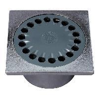 Bonde - Cabochon  Bonde de sol SP6001B - 10 x 10 cm - D40 mm - Corps gris chrome - Grille inox - a coller