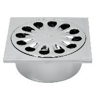 Bonde - Cabochon  WIRQUIN Bonde de sol SP6016 - 15 x 15 cm - Ø 50 mm - Corps gris métallisé - Grille inox - a coller