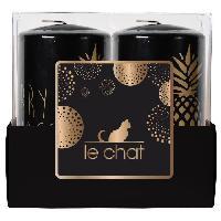 Bougeoir - Photophore - Bougie - Senteur LE CHAT Barquette de 2 bougies de Noel - Tete plate - O 4.8 x H 9 cm - Noir avec serigraphie ananas or chaud
