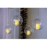 Bougeoir - Photophore - Bougie - Senteur LOTTI Bougie LED dans un verre a suspendre - Forme sphere - O 5 x H 7.5 cm - Blanc chaud - Aucune
