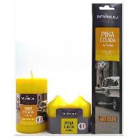 Bougeoir - Photophore - Bougie - Senteur Lot de 3 senteurs Pina Colada de Cuba. 3 bougies et 20 batonnets d'encens