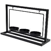 Bougeoir Porte-bougie en metal - 3 verres transparent - 30 x 11 x 19 cm - Noir
