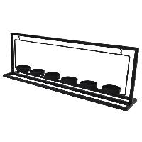 Bougeoir Porte-bougie en metal - 6 verres transparent - 56 x 11 x 19 cm - Noir