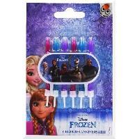 Bougie Anniversaire 6 bougies 6 bobeches avec plaque deco Reine des neiges