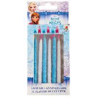Bougie Anniversaire DEVINEAU 6 bougies flamme de couleurs Reine des neiges