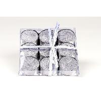 Bougie (hors Anniversaire) Set de 9 bougies de Noel T-Light pailletees en cire - Argent - O 3.8 cm Generique
