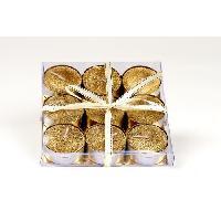 Bougie (hors Anniversaire) Set de 9 bougies de Noel T-Light pailletees en cire - O 3.8 cm Generique