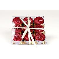 Bougie (hors Anniversaire) Set de 9 bougies de Noel T-Light pailletees en cire - Rouge - O 3.8 cm Generique