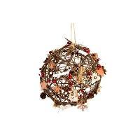 Boule De Noel Boule de Noël lumineuse marron en rotin et en bois Ø 10 cm - Generique