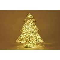 Boule De Noel Déco lumineuse sapin 20 LED en rotin - H 40 x L 32 cm - Blanc - Generique