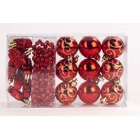 Boule De Noel Kit de 14 suspensions de Noël en PVC - Boules. étoiles et guirlande - Ø 4 / 2.70 cm - Rouge - Generique