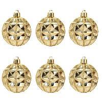 Boule De Noel Lot de 6 Boules de Noël géométrique Doré 7 cm - Generique