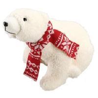 Boule De Noel Ours assis avec écharpe tricotée rouge - Generique