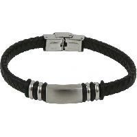 Bracelet - Gourmette Lui De Clio Bracelet Reglable Acier Cuir Noir Br2349S - BR2349S