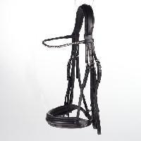 Bride - Bridon - Muserolle - Cavecon Bride Weymouth Vienna pour chevaux - 100 cuir - noir