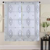 Brise-bise  - Voile De Vitrage Paire de vitrages - 2x60x120cm - Gris avec motifs
