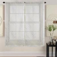Brise-bise  - Voile De Vitrage Paire de vitrages - 2x60x160cm - Beige avec motifs