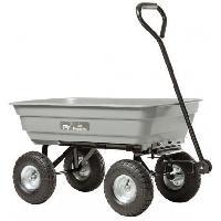 Brouette - Accessoire Brouette Chariot de jardin - 4 roues gonflees D270 mm - Caisse PP grise 75 l - Charge maximale 150 kg
