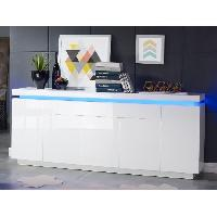 Buffet - Bahut - Enfilade FLASH Buffet avec LED bleu 206 cm - Laque blanc brillant
