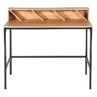 Bureau - Rehausse Bureau Bureau - Industriel - Metal noir + plateau decor bois clair - L 100 cm